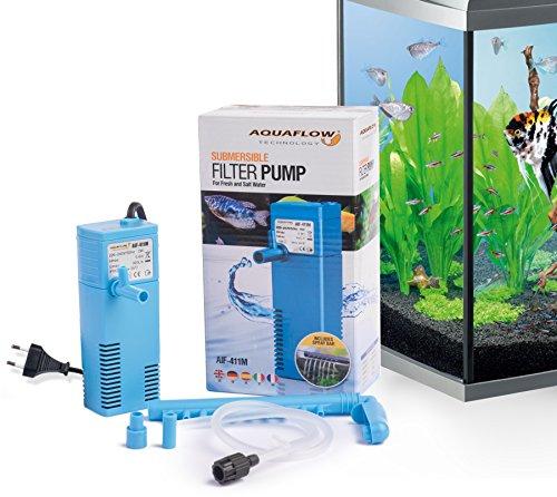 Aquaflow Technology® AIF-411M - Unterwasser-Aquariumsfilterpumpe für Frisch- und Salzwasser. Für Aquariumbehälter bis zu 20-50 Liter. 300 l/h 2W -