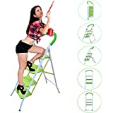 Super Deluxe Quality Premium Heavy Duty 4 Tread Lime Green 3 Step Household Steel Step Ladders (SI-HH1009)