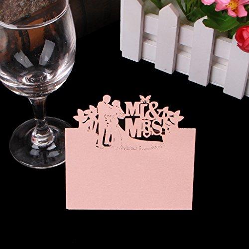 Manyo 50 Stück Tischkarten, Herr & Frau Dekor, 3 Farben für die Auswahl, ideale Dekoration und Geschenk für Hochzeitstag, Hochzeit, Geburtstage, Party, Festival. (Rosa)