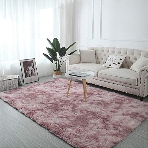 TROYSINC - Alfombra de Pelo Largo, Lavable, Moderna, mullida, para salón o Dormitorio, Rosa, 200 *...