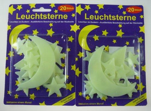2 x 20er Päckchen Leuchtsterne inkl. Mond - Zaubert einen riesen Sternenhimmel ins Zimmer
