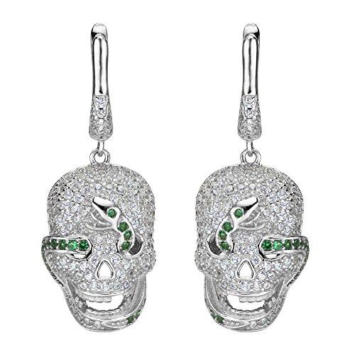 Flyonce Mujer Plata de ley 925 Pendientes Cráneo Gótico Colgante Aretes para regalo noche fiesta Carnaval Zirconias Verde