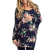 Esailq Femme Manche Longue Fleur Imprimée Maternité Enceinte Shirt Tops Blouse...
