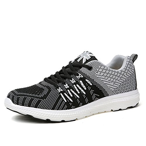 Men's Lightweight Comfortable Lace Up Running Shoes Black Grey