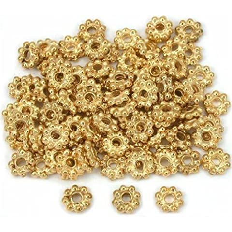 DUMAN 150pcs Daisy Flower Bali Spacer Beads Gold 6mm