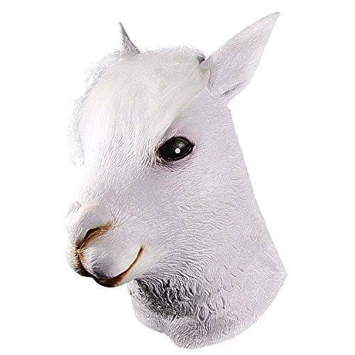 Karneval Kostüm Fortnite Lama - Alpaka-Kopfmaske, Halloween-Neuheit Deluxe-Tierkopfmaske, Latex-niedliche weiße Alpakas-Maske