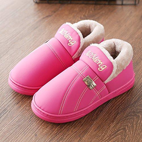 DogHaccd pantofole,Pelle pu cotone pantofole uomini home inverno camera da letto con lussuosi di spessore resistente all'acqua anti-slittamento pacchetto caldo con un paio di scarpe di cotone di donne Il rosso1