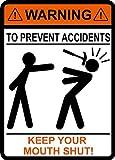"""Adesivo in vinile per auto con scritta in inglese""""Warning to prevent Accidents Keep Your mouth Shut"""", martello, falegname, costruzione, adesivo in vinile"""