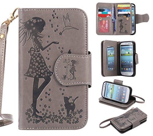 BONROY-Schutzhlle-Cover-Handyhlle-Etui-fr-Samsung-Galaxy-S3-i9300-HllePU-Leder-Schutzhlle-Bookstyle-Folio-Handyhlle-Flip-Cover-Schale-Tasche-Brieftasche-Bumper-mit-Kartenfcher-und-Magnetverschluss-Han