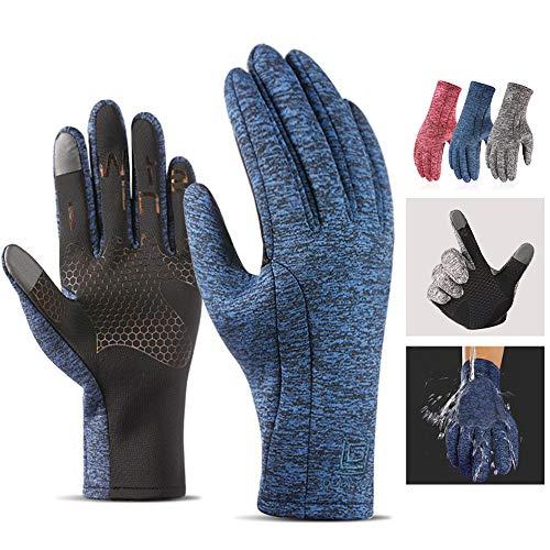 Huhuswwbin Winter-Handschuhe, warm, Unisex, volle Finger, Winter, Outdoor, Sport, Radfahren, Skifahren, warme Touchscreen-Handschuhe - Blau L (Handschuhe Thermische Winter)