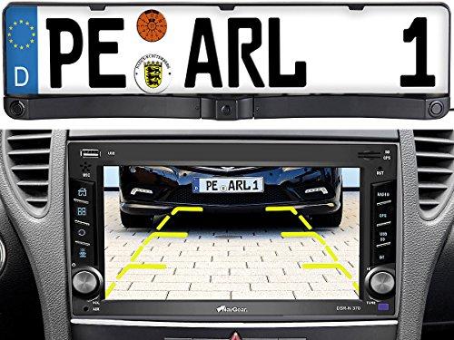 Lescars Rückfahrkameras: Rückfahrkamera & Einparkhilfe mit Abstandswarner, Nummernschildhalter (Rückfahrkamera mit Abstandsmessung) -
