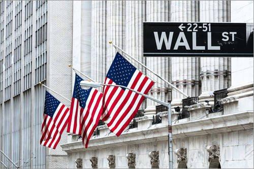 Poster 91 x 61 cm: New York Stock Exchange, Wall Street, New York, USA von Matteo Colombo - hochwertiger Kunstdruck, neues Kunstposter -