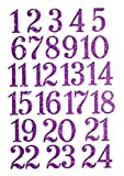 marinamalina adventskalender Zahlen adventskalender bügelbild Adventszahlen zum Aufbügeln Aufkleber Hotfix Bügelbild Textilaufkleber Glitterfolie Glitzerfolie Purple 24 Stück
