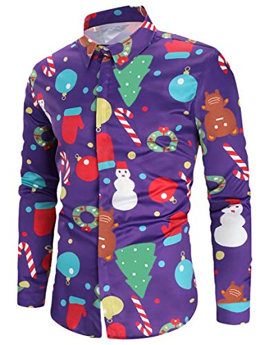 1c0d7ab8eca Loveternal Slim Fit Weihnachten Hemd Printed Langarm Christmas Shirt  Einzigartiges Muster Hawaiian Hemd Button Down Slim