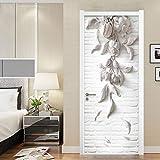 Modern Creative 3D Stereo Sollievo Fiori Wallpaper Soggiorno Studio Porta Adesivo in PVC autoadesivi Adesivi Impermeabili a Parete 95X215Cm
