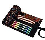 Hillento tela a mano borse matita albero felice involucro matita penna colori del vento nazionale valgono per 72 matite colorate (le matite non sono incluse), 72 buche