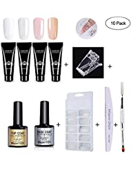 Polygel kit de vernis à ongles, gel extension Vernis à ongles nail kit – 4 * Poly Gel, brosse à ongles à double tête, Soak Off (UV), modèle Tips, clip, fleurs séchées, Lime à ongles