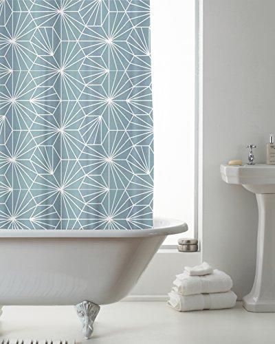Neues Design Badezimmer Duschvorhang mit Haken & Duschvorhang 180cm x 180cm, Skandi Teal, With Hooks (Badezimmer Teal Duschvorhänge)