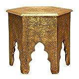 Casa Moro Orientalischer Beistelltisch marokkanischer Tisch Targa H 46 x Ø 46 cm Holz-Tisch komplett mit Messingintarsien Verkleidet | Kunsthandwerk Pur | MA77-345