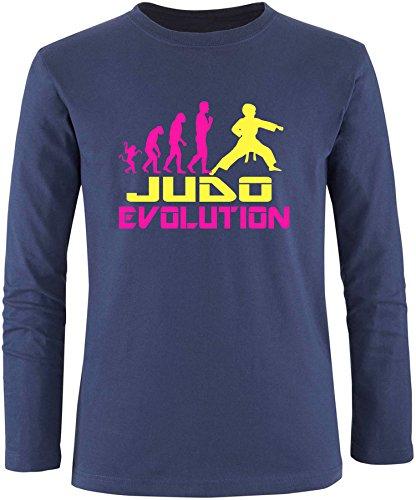 EZYshirt® Judo Evolution Herren Longsleeve Navy/Pink/Gelb