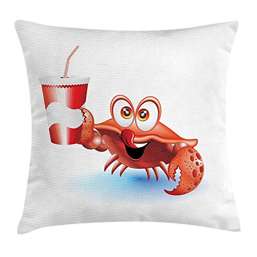 Twilight Rose Cup (Crabs Throw Pillow Cushion Cover, Thirsty Marine Animal with Drink on a Paper Cup with Straw Summertime Theme, Decorative Square Accent Pillow Case, 18 X 18 inches, Vermilion White Blue)