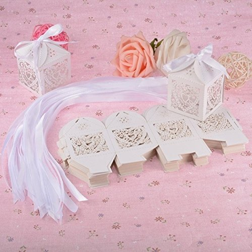 e Herz Laser Hohl Geschenk Candy Party Band Boxen mit Hochzeit Festival Papier Boxen ()