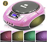 Lauson CD Stereo Portatile, Lettore CD per Bambini, USB MP3, SD-Card, AUX IN, Stereo con luci a LED colorate NXT965(Rosa S)