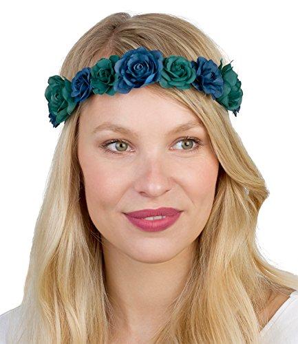 lumen Blüten Haarschmuck Kopfschmuck Haarkranz Blumenkranz, Trachtenschmuck, elastisch grün blau, Kostüm, Día de muertos (456-283) (Blauen Geist-kostüm)