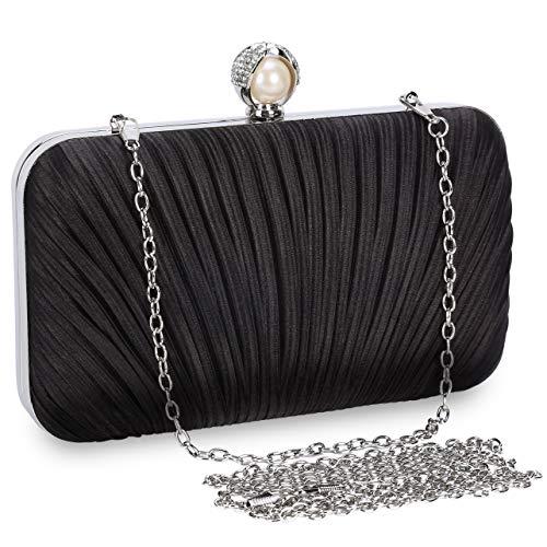 Selighting Damen Clutch Tasche Abendtasche Party Handtasche für Hochzeit Bankett (Schwarz)