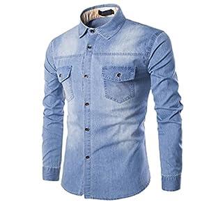 ZIYOU Herren Denim Hemd, Freizeit Langarm Slim fit Button Down Hemd T Shirt/Männer Pullover Sweatshirt Hemd Für Anzug, Business, Hochzeit