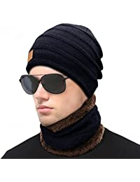 Wintermütze, HiKeep Strickmütze und Schal Set Warm Weich Beanie für Damen und Herren mit Fleecefutter-Blau