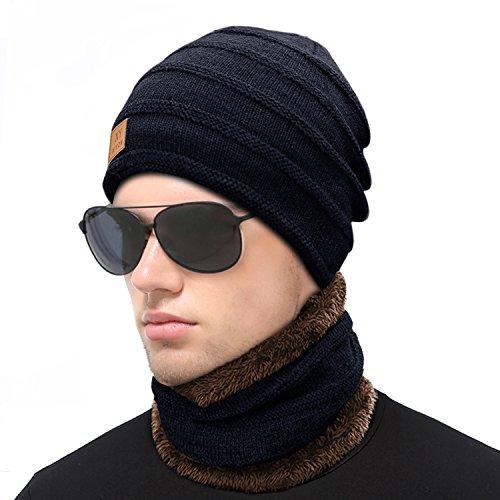 Mebest Wintermütze, Beanie Mütze mit Loop Schal Set, 2 in 1 Warm Weich Strickmütze Kaschmir Mütze und Loop Gestrickt Schal für Damen und Herren mit Fleecefutter-Blau -