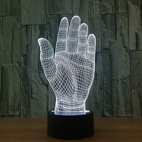 ührungsschalter Palm Hand 3D Led Nachtlicht Acryl Lampe Neuheit Beleuchtung Usb Lampe Tischlampe Als Halloween Party Büro Deco Geschenk Fernbedienung ()
