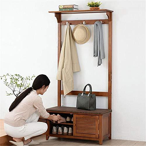 Maybesky-Coat rack Vintage Hut und Mantel Stehen Flur Schuhregal und Bank mit Sitz und Schublade (Farbe : Braun, Größe : 170x82x37cm) - Hall Bank Coat Rack