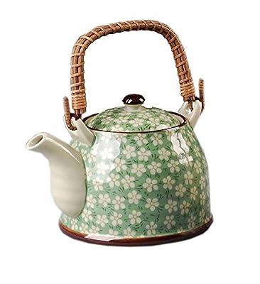 Style japonais théière en porcelaine, Plum Blossom 30 OZ, VERT
