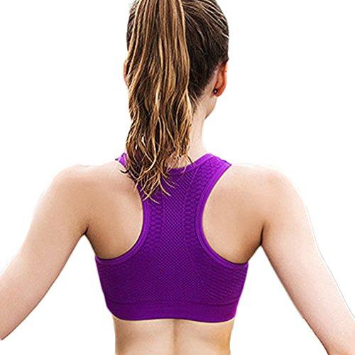 DELEY Donne Comfort Antiurto Esecuzione Palestra Allenamento Esercizio Senza Giunte Sport Reggiseno Traspirante Viola