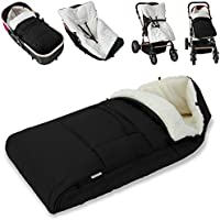 Lined Baby Footmuff – For Pushchair Stroller Car Seat Buggy Pram - Cosy Toes ✔ Universal Fit ✔ Padded ✔ Warm Winter Jogger - 35 Inches - Black