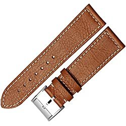 NEW 22mm BUFFALO STYLE BROWN LEATHER WATCH STRAP BAND BUCKLE FIT SEIKO CITIZEN