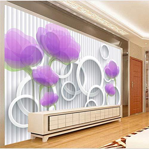 Mddjj Benutzerdefinierte Fototapete Papel De Pared 3D Lila Blume Kreis Streifen Wandbild Tapeten Wohnkultur Wohnzimmer Moderne Tapete-140X100Cm