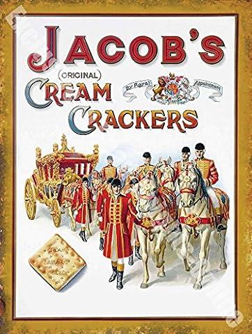 Jacob de Publicité Vintage Original Crème Crackers Royal Panneau mural en métal/acier, Acier, 30 x 40 cm