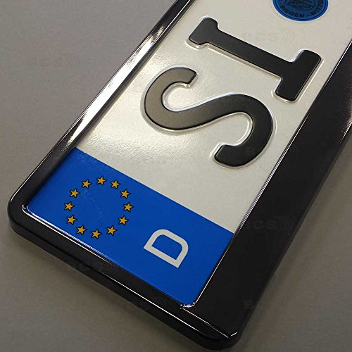 Preisvergleich Produktbild imex 2 Stück Kennzeichenhalter GRAPHIT Hochglanz metallic Optik Nummernschildhalter