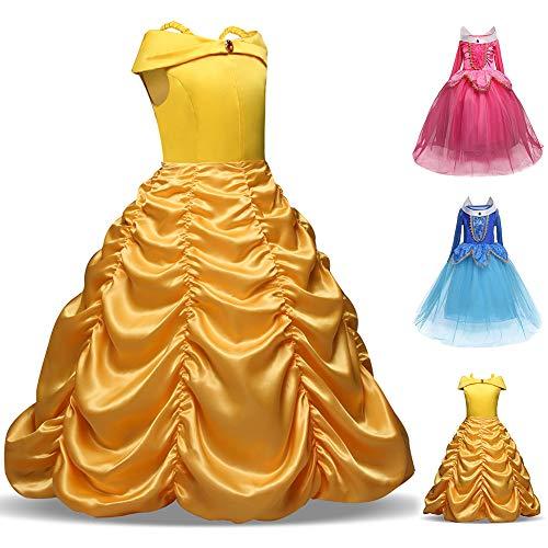 Faschingskostüm Mädchen Prinzessin Belle Kostüm Prinzessin Kleid Halloween Kleid für Gilrls Alter 4-9 Jahre 6Jahre 1#