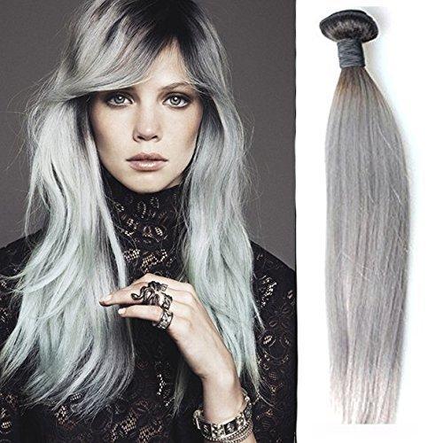 Sunny nero a grigio ombre brasiliani lissi grigio tessitura dei capelli 18