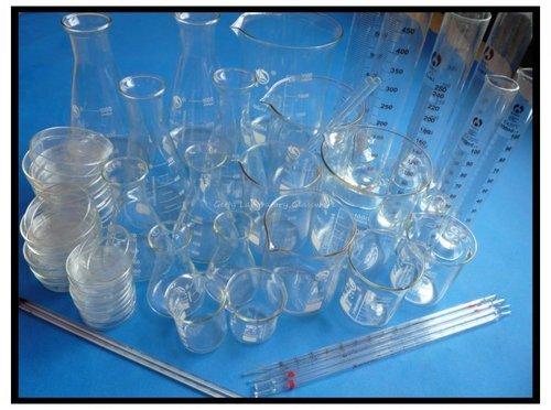 Gowe Labor Lab Glaswaren Kit, PYREX Glas Material (Becher, Erlenmeyerkolben, Messzylinder, Petrischale, Thermometer)
