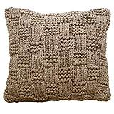 casamia Deko-Kissen Strickdesign mit Inlet und Füllung, handgefertigt beige - Taupe