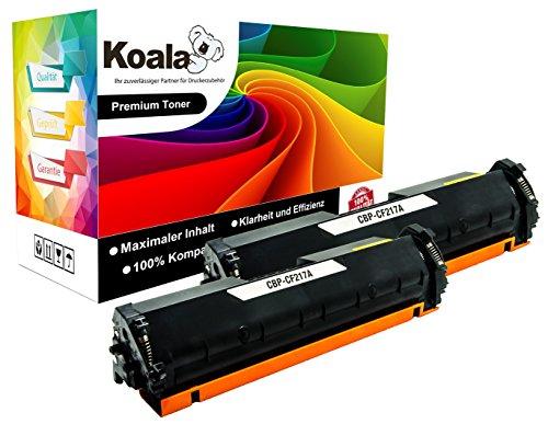 Koala Toner Kompatibel, (Mit Chip und Füllstandsanzeige), für HP CF217A 17A/HP LaserJet Pro M102A M130FN M103A M130FW M102W M130NW Laserdrucker, 2018 Exklusives Design (Toner Schwarz/1600 Seiten/für HP) (2er Set)