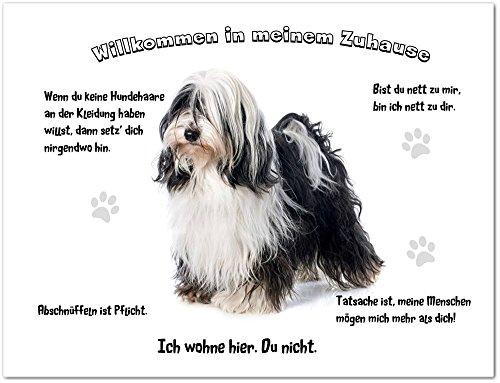 Merchandise for Fans Blechschild/Warnschild/Türschild - Aluminium - 15x20cm - - Willkommen in Meinem Zuhause - Motiv: Tibet Terrier weiß/schwarz- 01