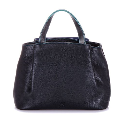 MyWalit en cuir Taille M Poignée Sac Verona Collection 1961 Multicolore - Black Pace