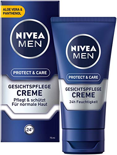 NIVEA MEN Protect & Care Gesichtspflege Creme im 3er Pack (3 x 75 ml), beruhigende Gesichtscreme...