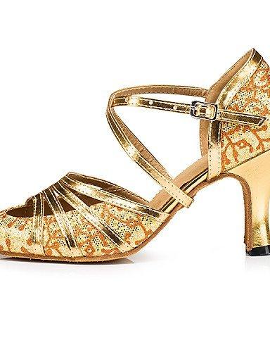 ShangYi Chaussures de danse ( Autre ) - Non Personnalisables - Talon Bobine - Paillette Brillante / Paillette - Latine Gold